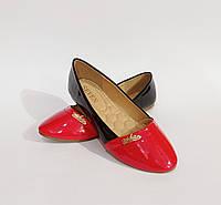 Балетки женские, туфли черно-красные в классическом стиле лаковы