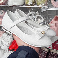 Детская обувь.Туфли для девочки белые блестящие, серебро 33(20,2),35 (21,5),36(22,2)
