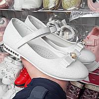 Туфли для девочки белые блестящие, серебро 33(20,2),35 (21,5),36(22,2)