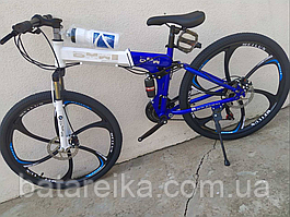 """Складаний Велосипед на литих дисках 26"""" BMW X6 рама 17"""" Синьо-білий"""