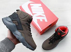 Кроссовки мужские зимние Nike Air Huarache Haki/Black
