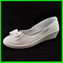 ✅ Жіночі Мокасини Білі Балетки Туфлі на Танкетці (розміри: 36,37,38,39,40)
