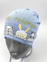 ОПТ,трикотажна шапочка для хлопчика з зав'язками «Friends»