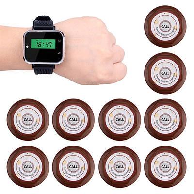 Безпровідна система виклику офіціанта з 10 кнопками і годинами - пейджером Tivdio F3300, коричневі кнопки