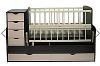 Кроватка - трансформер (для новорождённого, подростка, тумба, письменный стол). Слоновая кость/венге. Бук+ДСП.