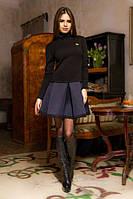 Женское черное платье с синим низом (имитация гольфа с юбкой)