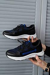 Подростковые кроссовки кожаные весна/осень синие Monster ХАН