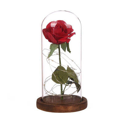 Вічна троянда в колбі, що світиться Hapeisy, коричнева основа