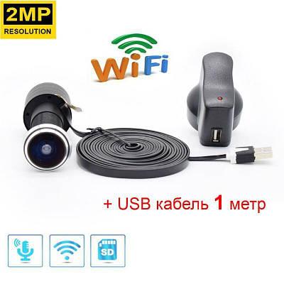 Відеовічко wifi бездротової c датчиком руху і записом HD1080P HQCAM-1101, з USB кабелем 1 метр