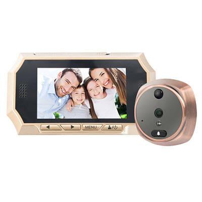 """Видеоглазок с датчиком движения c большим 4,3"""" экраном Kivos KR07, с видео/фото записью и подсветкой. Карта 8"""