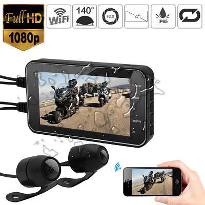 Видеорегистратор для мотоцикла на 2 камеры, влагозащищенный FHD 1080P, wifi, G-sensor, датчик движения