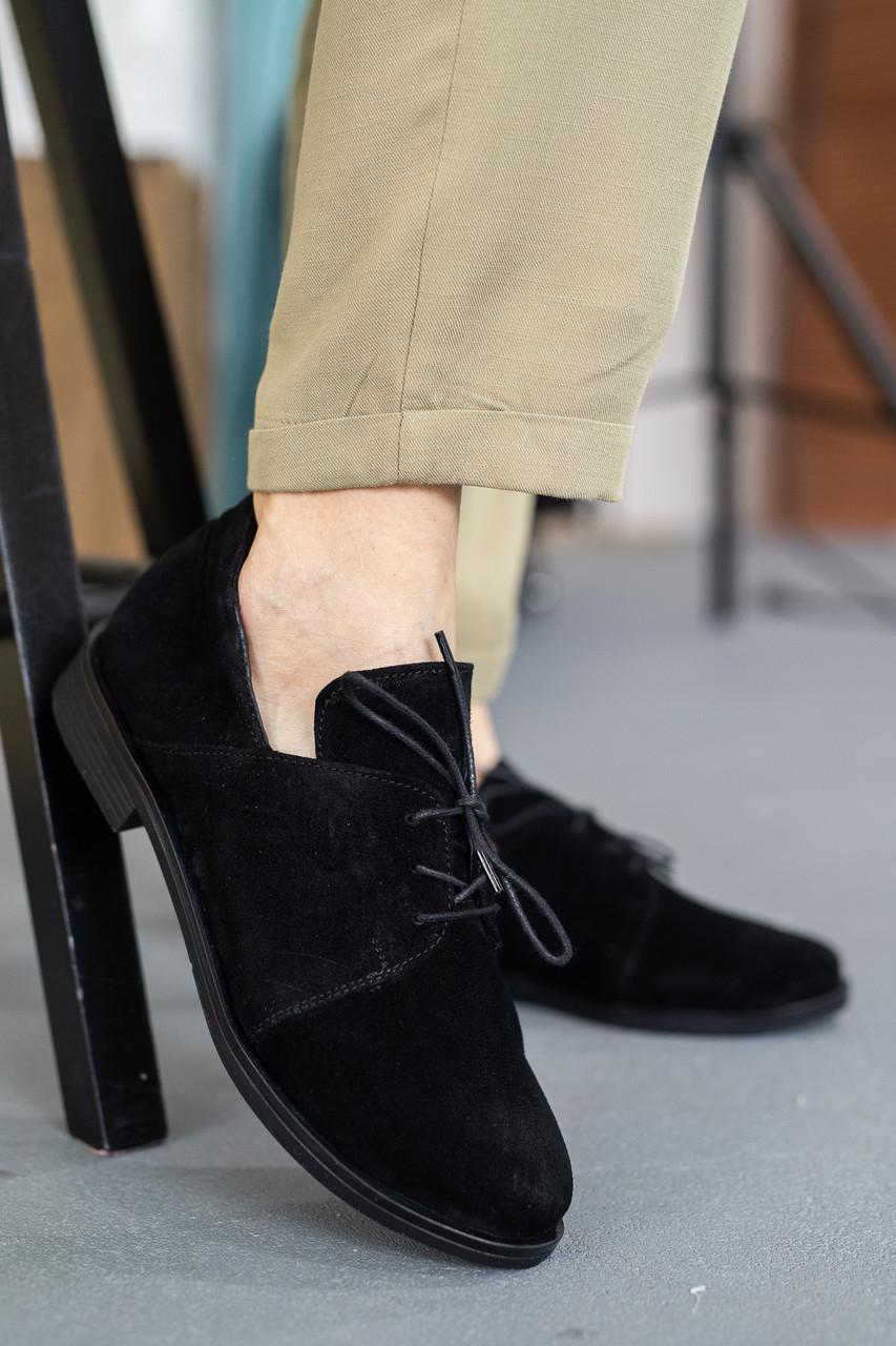 Жіночі туфлі замшеві весна/осінь чорні Mkrafvt 1220