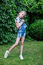 Летний детский джинсовый комбинезон с шортами для девочки 10 лет Magic Qirl Украина 99A290 Голубой