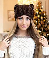 Женская шапка с ушками и паетками в 9ти цветах 4250