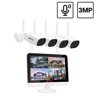 """Комплект видеонаблюдения беспроводной wifi на 4 камеры Anran AR-4W c 13"""" LCD монитором, 3 Мегапикселя"""