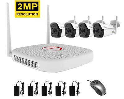 Комплект видеонаблюдения беспроводной wifi на 4 камеры Longse WIFI3604PGE4FK200, 2 Мегапикселя