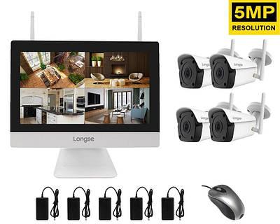 """Комплект видеонаблюдения беспроводной wifi с монитором 12"""" дюймов на 4 камеры Longse WIFI3604M4FK500, 5"""