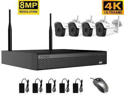 Комплект видеонаблюдения беспроводной wifi на 4 камеры Longse WIFI3604DE4FK800, 8 Мегапикселей, 4K Ultra HD