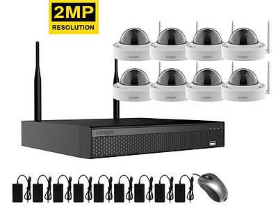 Комплект видеонаблюдения беспроводной wifi на 8 купольных камер Longse WIFI3608DED8SW200, 2 Мегапикселя