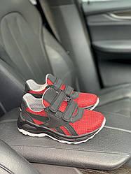 Детские кроссовки текстильные летние красные-черные CrosSAV 12L Сетка ч