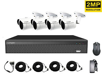 Комплект видеонаблюдения для улицы на 4 камеры Longse XVRA2004D4M200, 2 Мегапикселя, Full HD 1080P