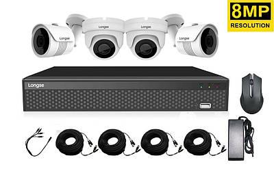 Комплект видеонаблюдения на 4 камеры высокого разрешения Longse XVRDA2104D4MH800, 8 Мегапикселей
