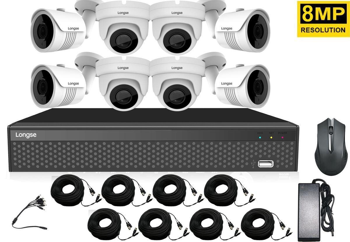 Комплект видеонаблюдения на 8 камер высокого разрешения Longse XVRDA3108D8MH800, 8 Мегапикселей