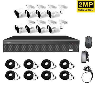 Комплект наружного видеонаблюдения на 8 камер Longse XVR208D8M200, 2 Мп, HD1080P