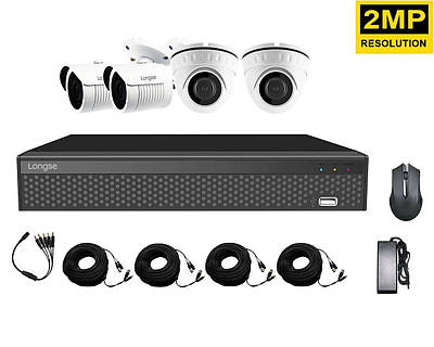 Комплект системы видеонаблюдения на 4 камеры Longse XVRA2004D2M2P200, 2 Мп, Full HD 1080P