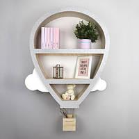 """Полка деревянная для игрушек и книг в детскую комнату """"Воздушный Шар"""""""