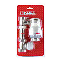 """Комплект для підключення радіатора 1/2"""" (прямий) з термоголовкою KOER KR.1321 (KR2659)"""