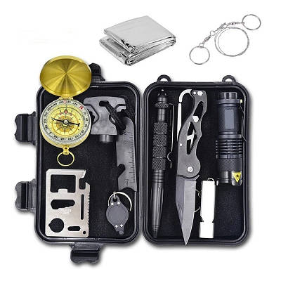 Набор для выживания в лесу из 10 инструментов в герметичном кейсе Emak ST-10