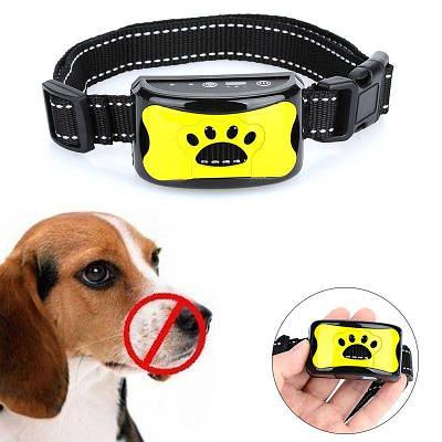 Ошейник антилай ультразвуковой вибрационный для маленьких собак Pecute Y-7, желтый