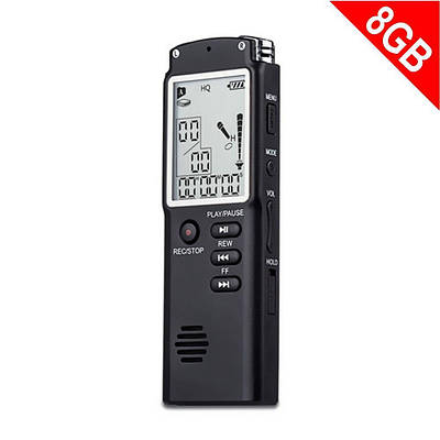 Диктофон цифровой с большим экраном DOITOP T-60, память 8 Гб, стерео, аккумуляторный
