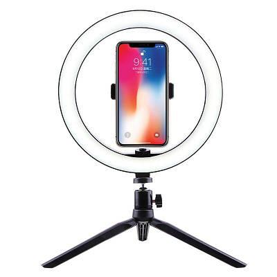 Селфи кольцо светодиодное на штативе с держателем для телефона Selfie ring light, диаметром 26 см, 3 цвета