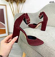 Женские замшевые туфли на каблуке 35-40 р бордо, фото 1
