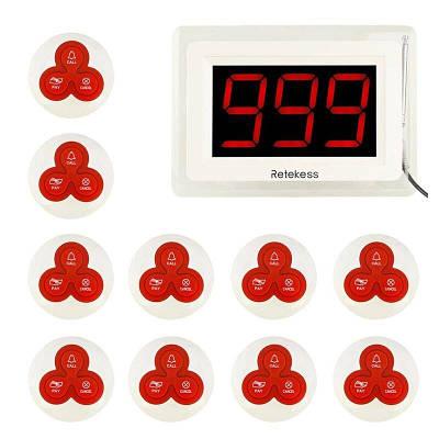 Безпровідна Система виклику офіціанта з LCD дисплеєм - оповещателем Retekess T114 + 10 кнопок