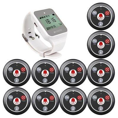 Безпровідна Система виклику офіціанта з годинником - пейджером Retekess TD108 + 10 чорних кнопок (російська версія)
