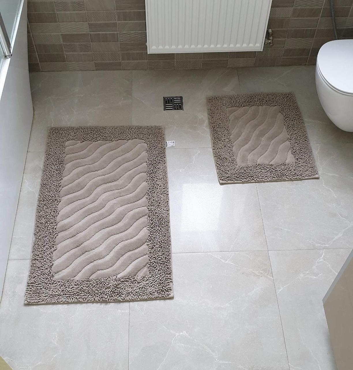 Набор ковриков для ванной MOSSO  50х60 и 60х100 (TM Zeron) коричневый, Турция