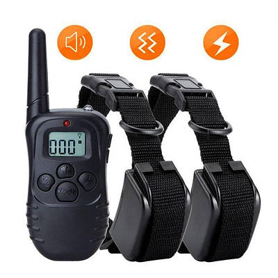 Электроошейник для собак с 2-мя ошейниками Petainer  PET998DB-2, аккумуляторные, для дрессировки 2-х собак