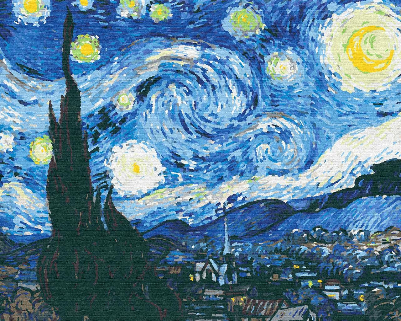 Картина по номерам Звездная ночь,Ван Гог, 40*50 см, без коробки RB