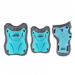Комплект защитный для детей от 12 до 15 лет Nils Extreme H407 Size L Blue/Grey налокотники, наколенники