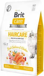 Сухой корм Brit Care Cat GF Haircare Healthy & Shiny Coat уход за кожей и шерстью (лосось/курица)