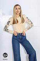 Жіночий укорочений джемпер з декоративними малюнками з 42 по 48 розмір, фото 5