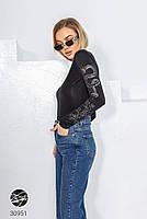 Жіночий укорочений джемпер з декоративними малюнками з 42 по 48 розмір, фото 4