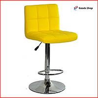 Барный стул высокий для барной стойки Кожаное барное кресло стильное со спинкой для кухни Bonro B-628 желтый