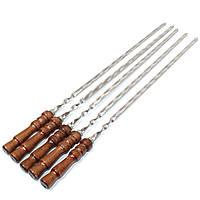 Набор широких плоских шампуров 5 шт с деревянной ручкой из нержавеющей стали для мяса и овощей