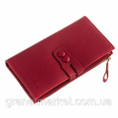 Жіночий гаманець Посміхнулася, темно червоний, еко шкіра з рельєфом, 194 dark red