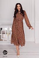 Шифоновое платье миди с длинными рукавами на резинке с 44 по 50 размер, фото 2