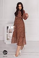Шифоновое платье миди с длинными рукавами на резинке с 44 по 50 размер, фото 3